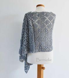 Grey lace crochet shawl stole cotton K16 by Berniolie on Etsy