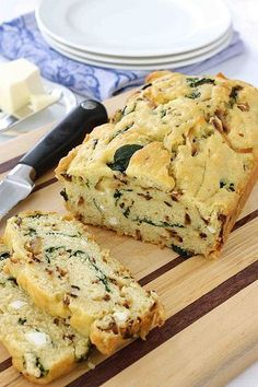Caramelized Onion & Spinach Olive Oil Quick Bread Recipe...You won't be able to stop eating this!