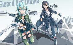 Sinon and Kirito Sword Art Online 2 Gun Gale High Resolution 2880×1800 Wallpaper