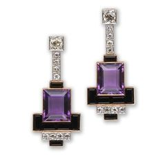 Amethyst, onyx and diamond earrings - Art Deco