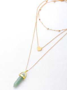 #SheIn - #SheIn Faux Stone Gem Layered Chain Necklace - AdoreWe.com