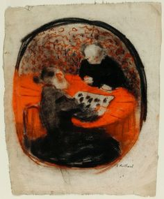 """Edouard Vuillard - """"The Artist's Mother Playing Checkers"""" circa 1890–91. Pastel, with graphite, stumping and erasing on ivory wove paper. 375 x 305 mm (max.). Art Institute of Chicago, Chicago, USA"""