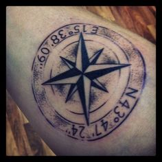 Tattoo Compass I love that it looks like a stamp. (With coordinates of the house I grew up in) Star Tattoos, Body Art Tattoos, New Tattoos, Cool Tattoos, Forearm Tattoos, Tattoo Designs For Women, Tattoos For Women Small, Tatoo Designs, Tattoo Fonts Generator