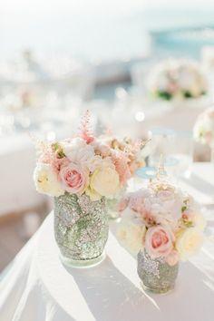 Pink and white rose centerpieces: http://www.stylemepretty.com/destination-weddings/2015/12/30/classically-elegant-santorini-wedding/ | Photography: Anna Roussos - http://annaroussos.com/