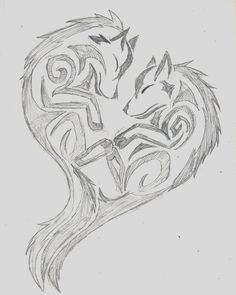 tribal heart wolf drawings - Google Search: