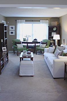 Love this room with the gray, white, brown, and green