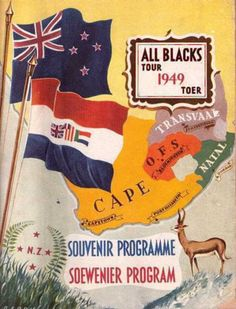 1949 All Blacks Rugby Tour South Africa Rugby Poster, South African Rugby, Visit South Africa, All Blacks Rugby, Team Mascots, Great Logos, Vintage Travel Posters, Team Logo, Old Things