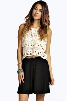 Bryony Button Front 90's Grunge Skater Skirt at boohoo.com 16.00