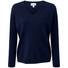 Pure Collection Serena Relaxed Cashmere Jumper, Navy (910 HKD) ❤ liked on Polyvore featuring tops, sweaters, navy blue top, blue cashmere sweater, oversized cashmere sweater, navy blue v neck sweater and oversized sweaters