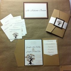 An Autumn Dream  woodgrain pocketfold invitation with 5 inserts, belly band and monogram.