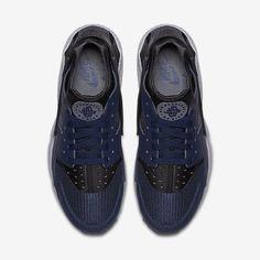 582889c0381 Chaussure Nike Air Huarache Pas Cher Femme et Homme Bleu Nuit Marine Cendre  Fonce Gris Froid