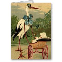 antique  and vintage .victorian cards | Vintage Victorian Stork and Baby Carriage Greeting Cards from Zazzle ...
