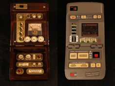 Steampunk Star Trek tricorder left & the original. And maybe a steam star trek outfit to go with