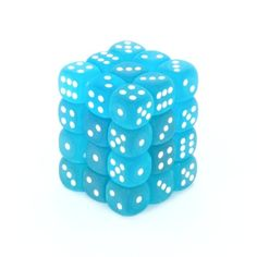 Chessex Dice Poly Frost Caribbean Blue bag! Set Of 7  White Numbers 27416