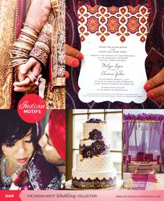 Here's a great mini inspiration board with some awesome ideas for a Indian wedding. Brought to you by the stylists at Botanical PaperWorks.