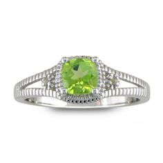 3/4ct Peridot and Diamond Ring, Sterling Silver