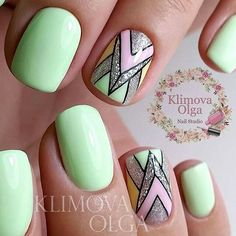 Beautiful summer nails, Foil nail art, Geometric nails, Ideas for short nails… Nail Art Design Gallery, Best Nail Art Designs, Nail Art Modele, Foil Nail Art, Geometric Nail Art, Trendy Nail Art, Super Nails, Spring Nails, Nail Summer