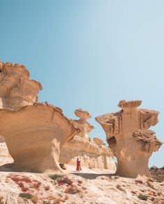 Discover one of Spain's most beautiful natural attractions, Ciudad Encantada de Bolnuevo in Mazarrón. An otherworldly landscape of spectacular sandstone formations! Spain Road Trip, Harbor Town, Small Restaurants, Natural Wonders, The Great Outdoors, Monument Valley, Mount Rushmore, Landscape, City