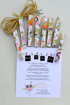 OWLS Clothespin Photo Hanging Kit in a Mason Jar by owlpaperscissors, $12.00 Great Gift Idea!