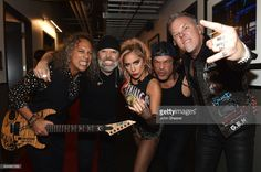 Recording artist Lady Gaga (C) and recording artists (from L) Kirk Hammett, Lars Ulrich, Robert Trujillo, and James Hetfield of music group Metallica attend The 59th GRAMMY Awards at STAPLES Center on February 12, 2017 in Los Angeles, California.  (Photo by John Shearer/WireImage)