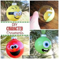 diy character ornaments - this would make such a fun Christmas tree covered with my favorite animated characters!