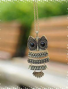 Vintage bronze Owl Adiustable   Necklace B9 by sevenvsxiao on Etsy, $6.50