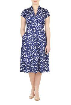 1940s pleated heart print dress $81.95 AT vintagedancer.com