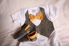 Baby boy shirtmustard bow tie shirt Baby boy photo by haddygrace