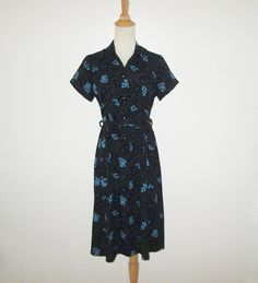 Vintage 1950s Black Crepe Dress With Blue Floral Design - Size M by SayItWithVintage on Etsy