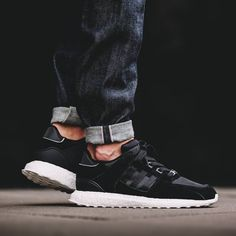 An upper that's darker than night with a sole as soft as a cloud. Pic via @overkillshop #sneakefreaker #snkrfkr #adidas #eqt #boost