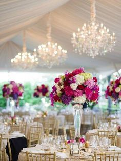 Purple Wedding Flowers Pink and Purple Wedding Inspiration Pink Wedding Receptions, Tent Wedding, Mod Wedding, Wedding Reception Decorations, Elegant Wedding, Wedding Table, Reception Ideas, Luxury Wedding, Wedding Band