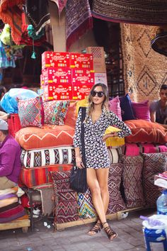 RUG SHOPPING IN MARRAKECH, MOROCCO in my DVF wrap dress.  http://www.songofstyle.com/2014/07/rug-shopping-in-marrakech-morocco.html