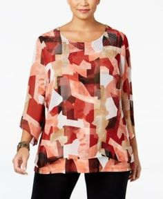 Jm Collection Plus Size Embellished Popover Top, Only at Macy's - Red 0X