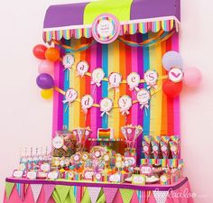 Corinne, I like that the sign is lollipops.  the backdrop would be easy and cheap to do with streamers.