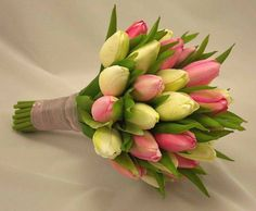 Cream and  Pink Tulips Wedding Bouquet