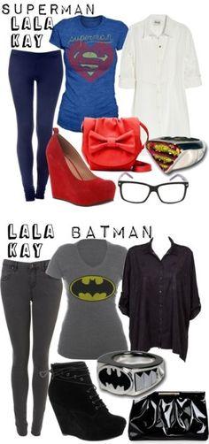 Batman and superman. Nerd Outfits, Batman Outfits, Cool Outfits, Summer Outfits, Casual Outfits, Fashion Outfits, Fandom Fashion, Geek Fashion, Lolita Fashion