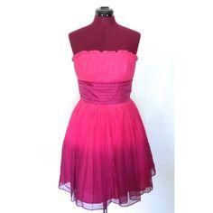 Betsey Johnson Strapless Dress Betsey Johnson strapless party dress. Ombré pink. Zipper back closure. Chiffon. Size 6 Betsey Johnson Dresses Prom