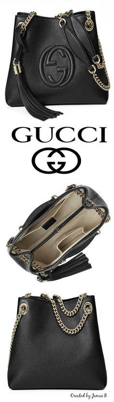 #handbags #Gucci | #Fall 2015 | Soho Extra-Small A-Shape Leather Shoulder Bag, Nero