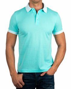 Polos Hugo Boss ® - Genova - Verde Agua   Envio Gratis Style Fashion, Fashion Looks, Mens Fashion, Hugo Boss, Polo Design, Boutique, White Pants, Athleisure, Men Dress