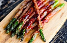 Fry wrapped asparagus spears for 1-2 minutes on each side or until prosciutto is brown and crispy.