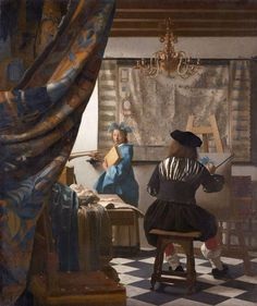 """""""The Art of Painting"""" By Johannes Vermeer, from Delft, Netherlands - - oil on canvas; 120 x 100 cm; 47 x 39 in - © The Kunsthistorisches Museum, Vienna, Austria Johannes Vermeer, List Of Paintings, Composition Painting, Google Art Project, Artists And Models, Dutch Painters, Caravaggio, Delft, Large Art"""