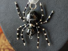 Charlie Crackle Finish Black and Silver Bead Spider by spiderldy, $10.00
