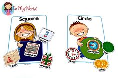 Back to School Preschool Centers - FREE Shape Sorting Mats with Pictures