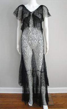 Vintage 1930s Dress Black Lace 30s Evening Gown Art Deco