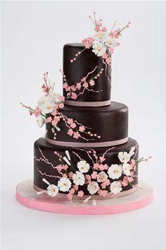 wedding cake cherry blossoms
