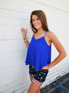 Suntan Lines Tank - Royal Blue - 4th of July Outfit Ideas - On Sale at Anna Laura's Boutique - Blue flowy tank top and american black jean shorts