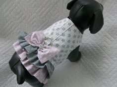 Ready to Ship Size Small  Dog Harness in Pink and Grey with  Double  Ruffled  Harness  Vest  for Dog or Cat Outfit. $16.95, via Etsy.
