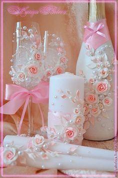 Купить свадебные фужеры и свечи - фужеры на свадьбу, бокалы для молодоженов, розовый, полимерная глина