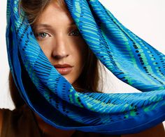 Blue Black and Green woman silk scarf screen by DiklaLevskyDesign