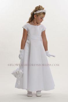 Flower Girl Dress Style 5377- White All Satin Cap Short Sleeve Aline Dress. $50. Rose bow back.